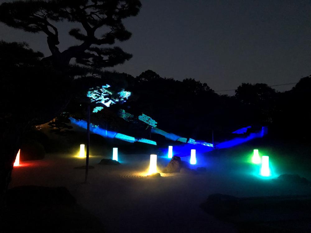【由志園のライトアップイルミネーション2018】枯山水