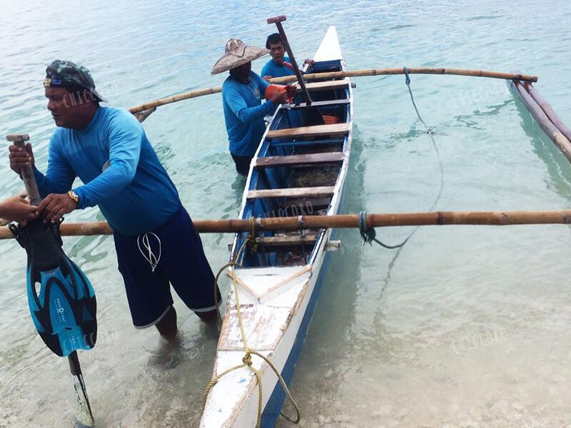 フィリピン:オスロブのジンベイザメのツアーのボート